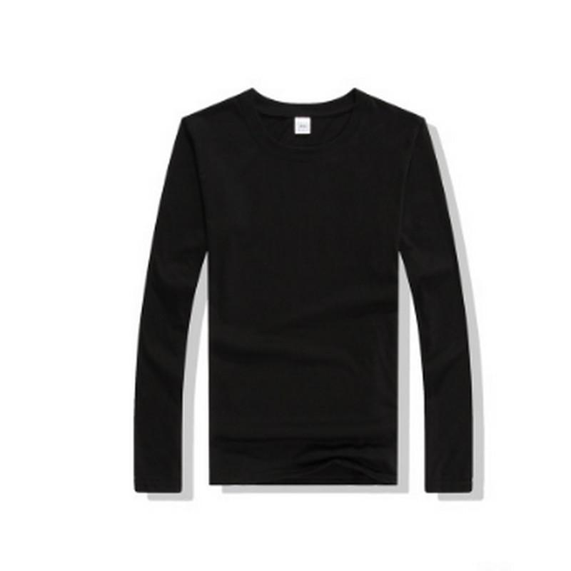 2018 New Solid color T Shirt Mens Black And White 100% cotton T-shirts Skateboard Tee Boy Skate Tshirt Tops Long sleeve