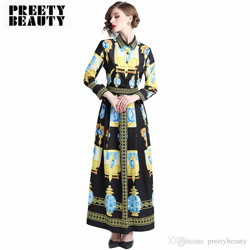 9cfe7fceb29e 2019 Maxi Floral Print Dress Lady Tunic Pleated Maxi Dresses Single Breasted  Long Sleeve Vintage Party Dress From Preetybeauty, $81.54 | DHgate.Com