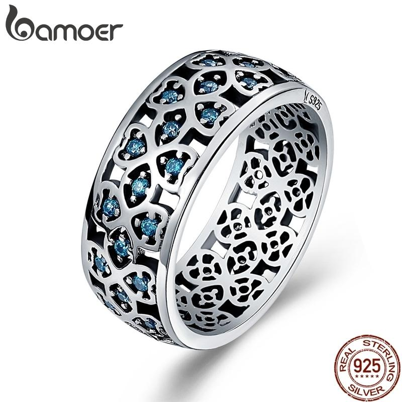 Bamoer 100% 925 Sterling Silver Petals Of Love Sweet Clover Blue Finger Rings For Women Engagement Jewelry S925 Gift Scr064 C19041201