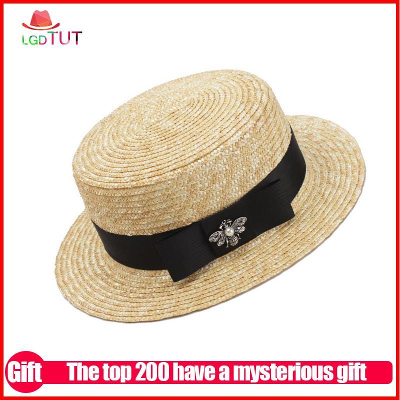41c001aa58d7b Compre JAMONT Gorra De Sol Para Mujer Sombrero De Verano Sombrero De Playa  Gorra De Paja Salvaje De Moda Abeja Visera Decorativa Sombreros Para El Sol  Para ...
