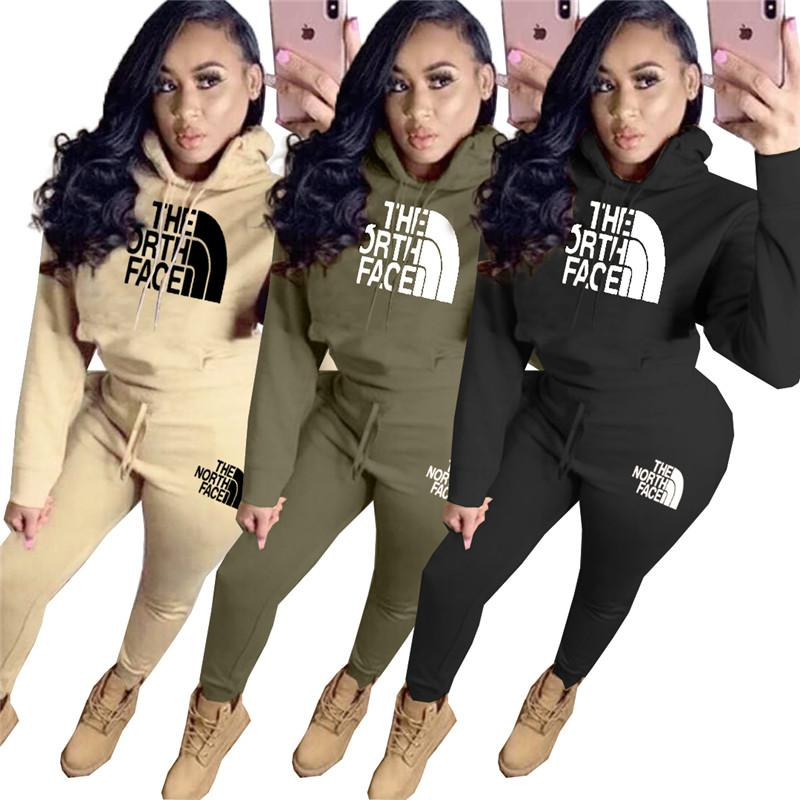 Women Design Two Piece Outfits The North Hooded Sweater Hoodie and Pants Leggings Face Luxury NF Embroidery Tracksuit Sports Suit C110801