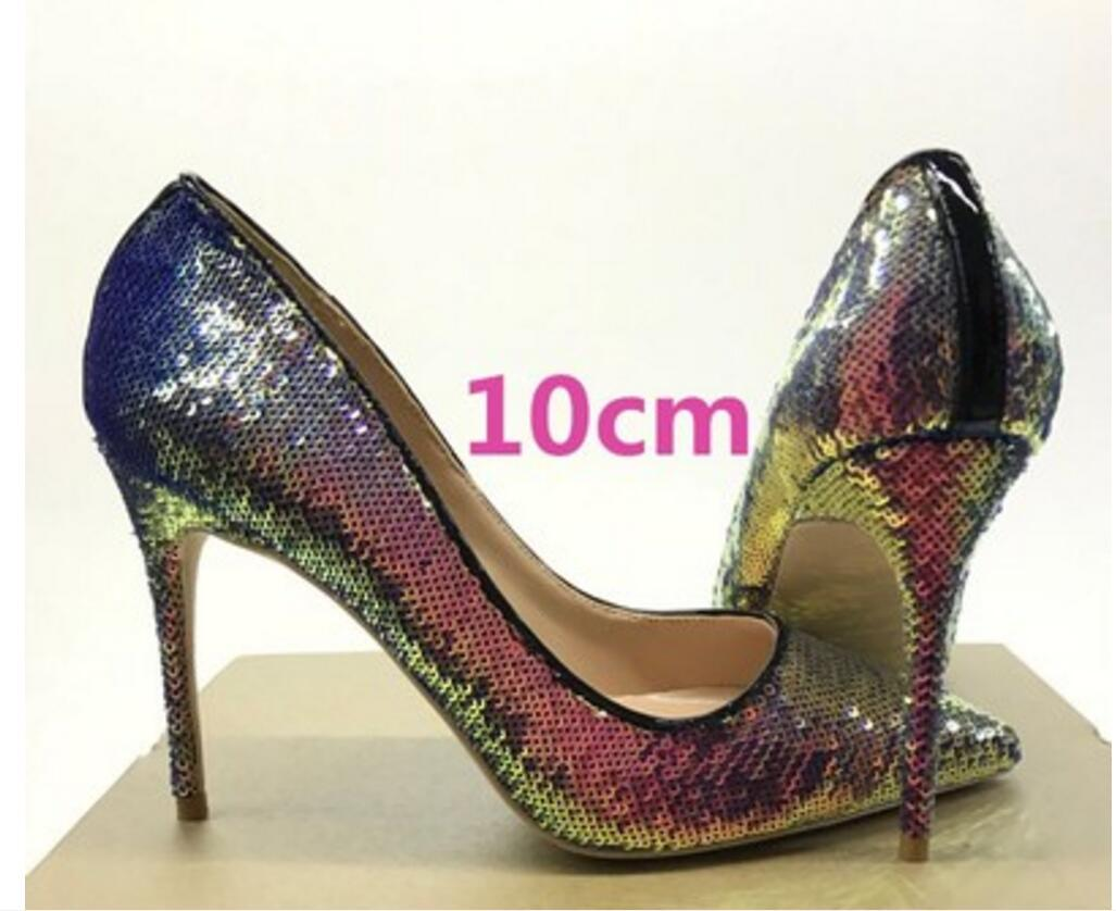 2019 new type Wedding Sequins Single shoe Women's High heeled shoes 8cm 12cm 10cm Cusp Fine heel large size 45 Nightclub red bottom shoes