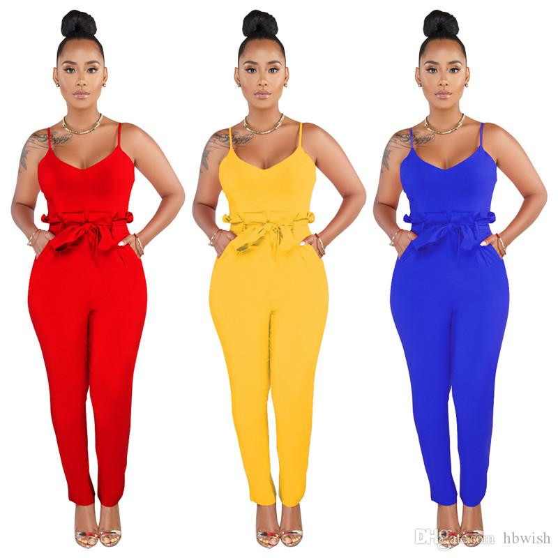 2019 Sexy Ladies Women Playsuit Bodysuit Party Jumpsuit Romper Clubwear Red backless Lace Up Long Jumpsuit