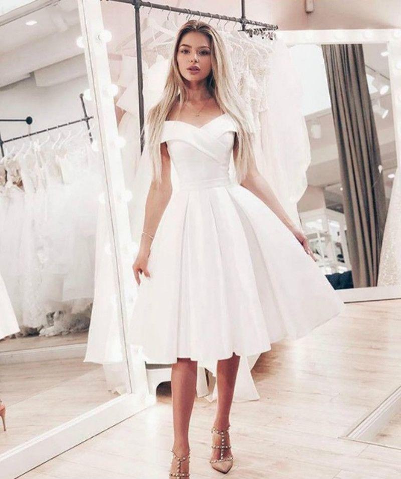 Summer Off Shoulder Short Wedding Dress Simple