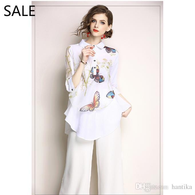 44cc79bb4b Compre Mulheres Blusas Camisa Branca Estampa Floral 1 2 Manga Alta ...