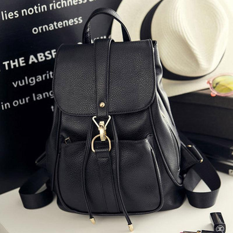 a10d92d7b8eb 2019 Fashion2018 Korean Style Women Backpack Top Quality Leather Double  Shoulder Bag School Bag For Teenage Girl Female Casual Black Bagpack Cute  Backpacks ...