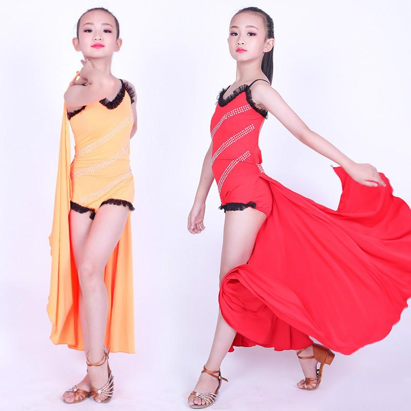 Custom Latin Dance Dress For Girls Children Salsa Tango Ballroom Dancing Dress Competition Costumes Kids Practice Dance Clothing