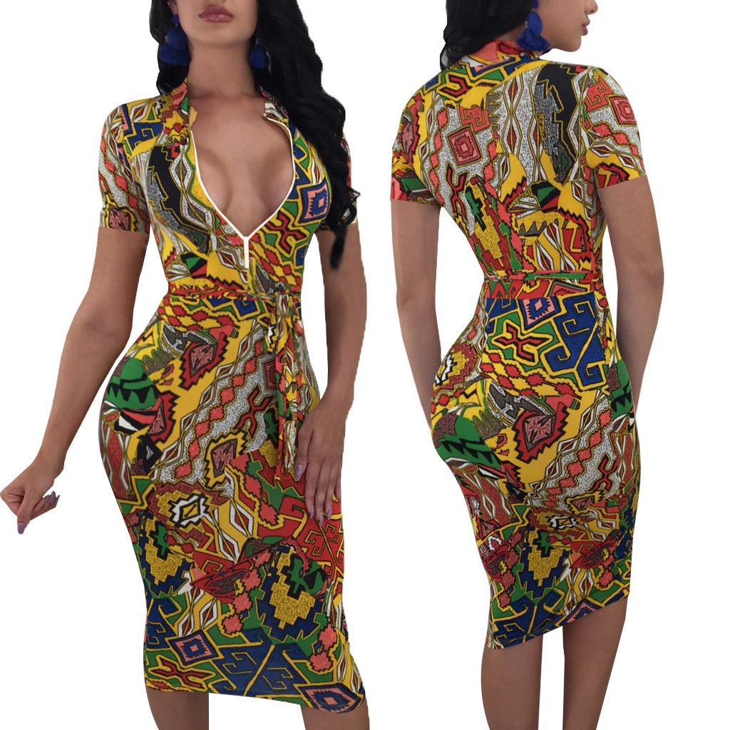 9541f1b622e Enlarge 2019 Standard Code New Pattern Heat Pin Fashion Sexy Printing  Conjoined Skirt Burst clothing