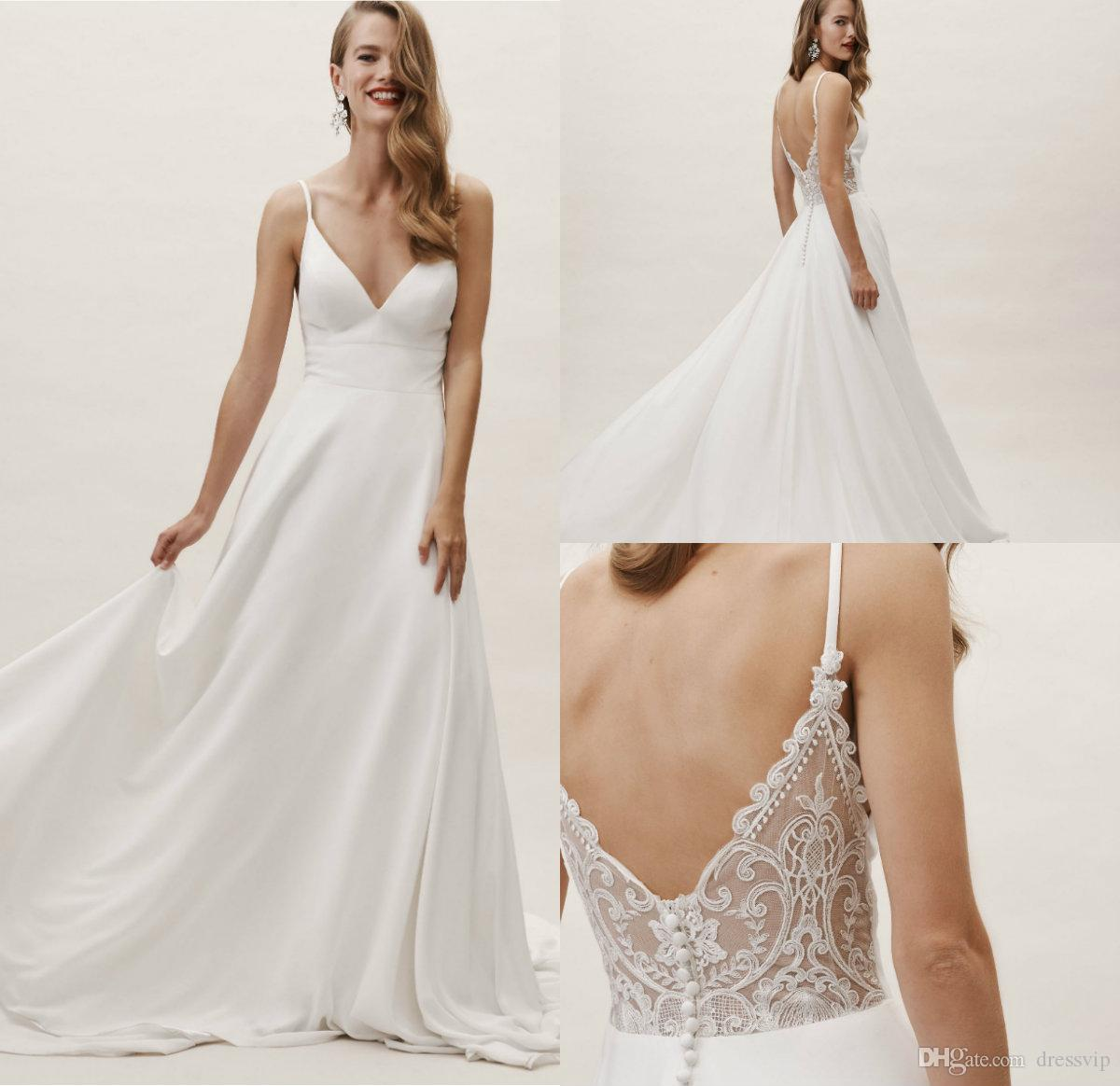 Bhldn Bohemian Wedding Dresses Spaghetti Straps A Line Lace Back Soft Satin Beach Wedding Dress Custom Made Plus Size Bridal Gowns