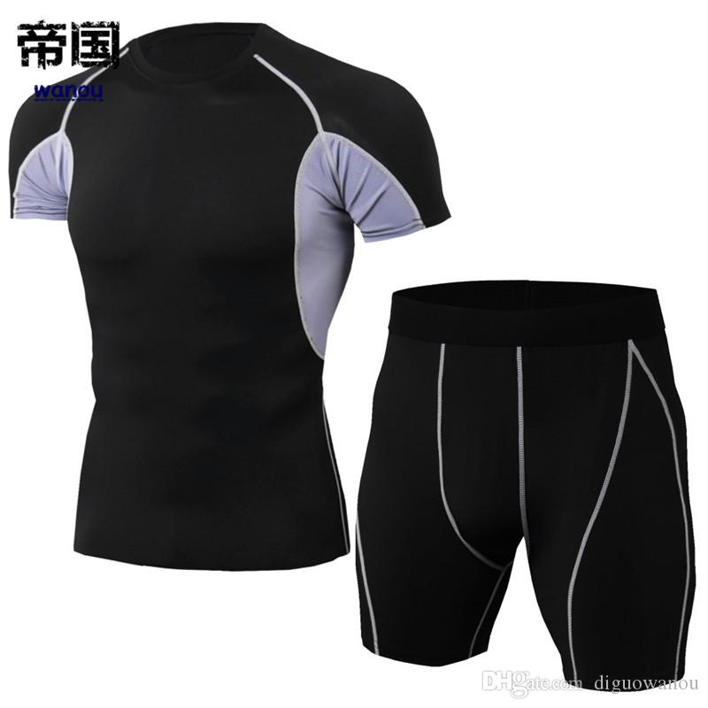 eaad194d541d5 Sportswear Bodysuit Men NEW T Shirt Shorts Black Gray Fitness Sports  Workout Running Basketball Elastic Quick Dry Breathable Activewear Designer  White Tee ...