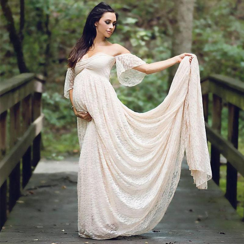 ec6c776af2 2019 Trailing Dress Maternity Photography Props Pregnancy Dress Photography  Clothes For Photo Shoot Pregnant Lace Maxi Gown From Askkit