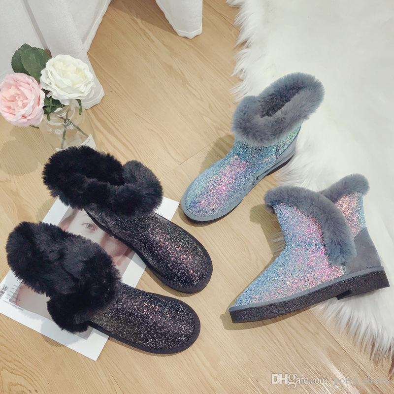 e0afbfd6e09 Sequins Snow Boots Womens Girls Chic Flat Shining Snow Winter Ankle Boots  Fur Lined Warm Shoes IIA36 Mens Boots Thigh High Boots From Ports shoes