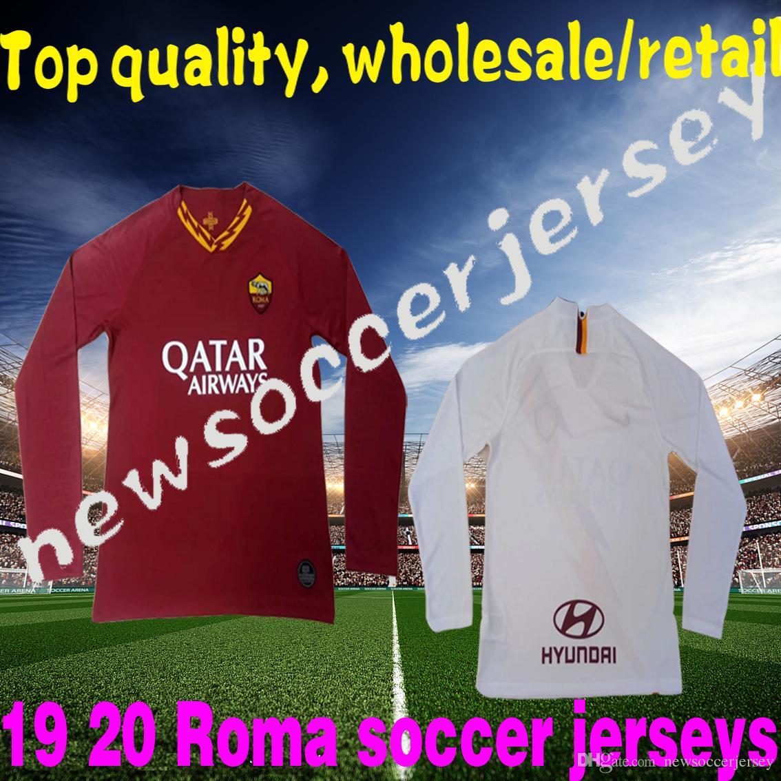 Top 2019 2020 LONG Roma soccer jersey 2019 TOTTI Roma jersey 19 20 long  football kit shirt DE ROSSI maillot de foot Roma camiseta de fútbol