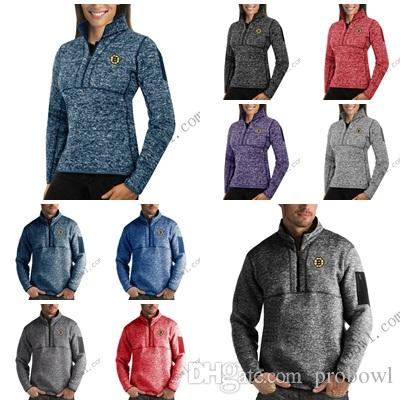 2019 Boston Bruins Antigua Mens Womens Fortune Half Zip Sweater Pullover  Jackets Heather Navy Charcoal Purple Grey Royal From Probowl 5f00940a60