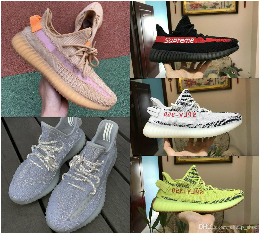 2019 New Static 3M Reflective Boost Cheap Belgua 2.0 Semi Frozen Yellow Shoes High Quality Kanye West True Form Men Women Trainer Shoes