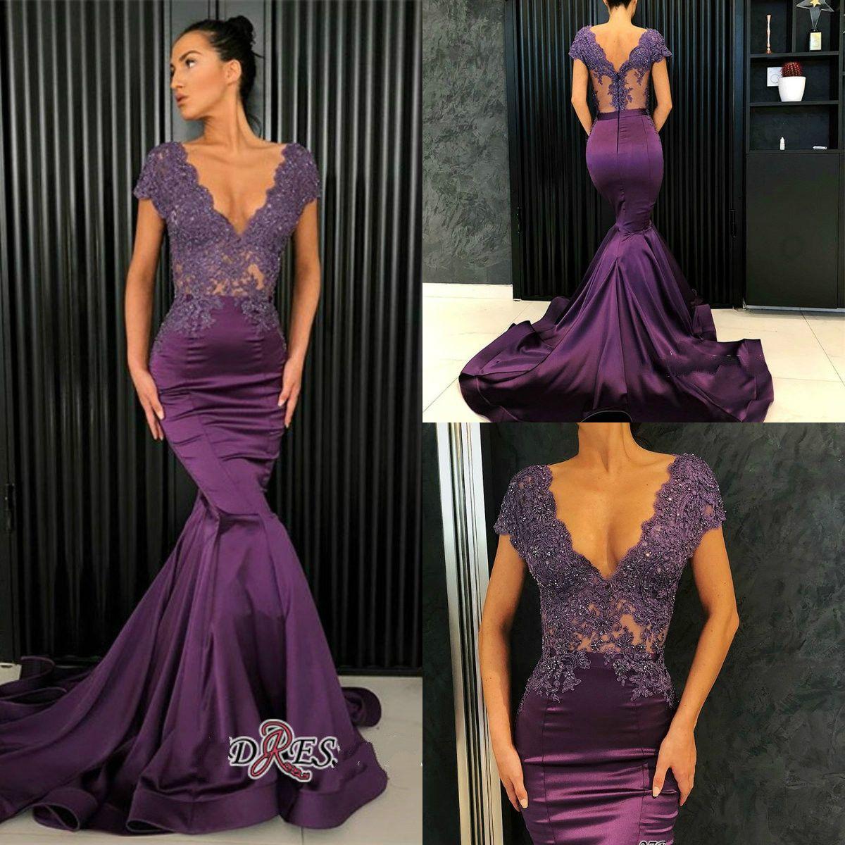 4d032096460fe Satın Al 2019 Mor Abiye V Boyun Dantel Aplike Boncuk Saten Sweep Tren  Custom Made Mermaid Balo Elbise Zarif Özel Durum Elbise, $106.79    DHgate.Com'da