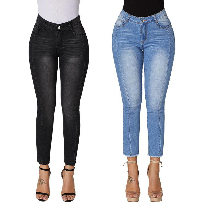 113c1c10a6e 2019 Womens Plus Size High Waist Washed Solid Color Long Pants Gradient  Vertical Stripes Straight Skinny Jeans Ankle Length Stretch From Balsamor