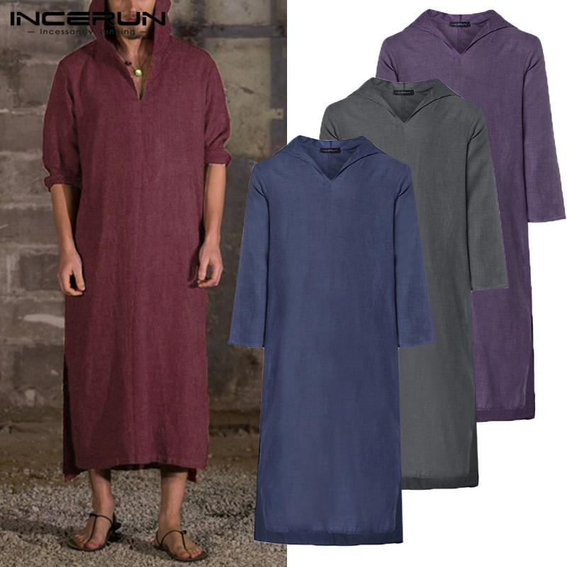 2019 Harajuku Tee Hoody Robe Mens Hoodies Dressing Kaftan Long Sleeve Cotton Islamic Gown Hiphop Robe Sweatshirts Tops Big 5XL