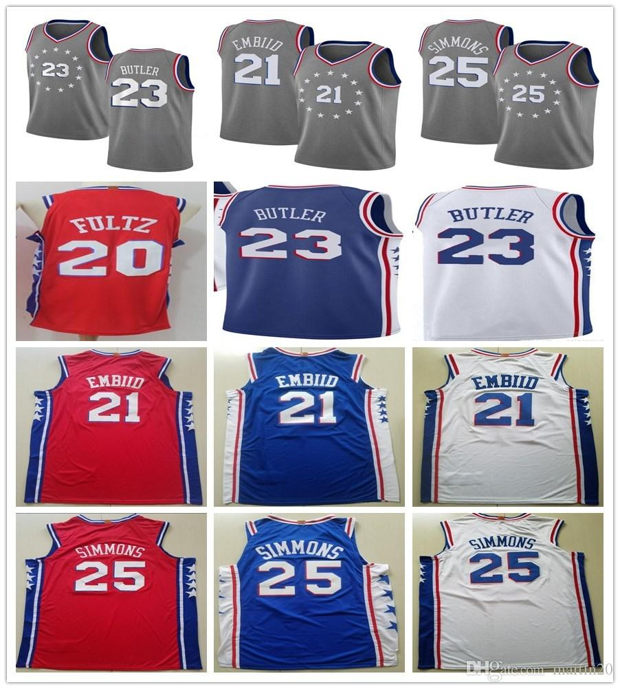 b3d9453161c7 2019 New City Edition Gray 23 Jimmy Butler Jerseys Stitched Blue Red White 21  Joel Embiid 25 Ben Simmons 20 Markelle Fultz Jersey Sportswear From ...