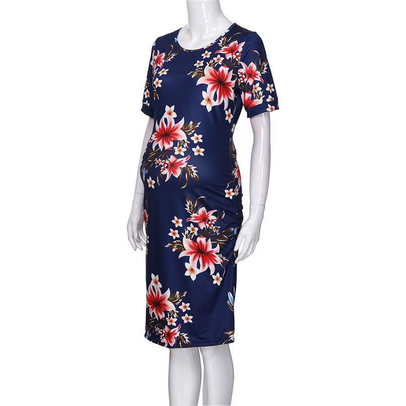 66c391c78841 2019 Summer Maternity Clothes Fashion Women Pregnants Maternity Floral  Print Short Sleeve Sheath Dress Casual Pregnancy Dress JE22 F From  Zerocold01