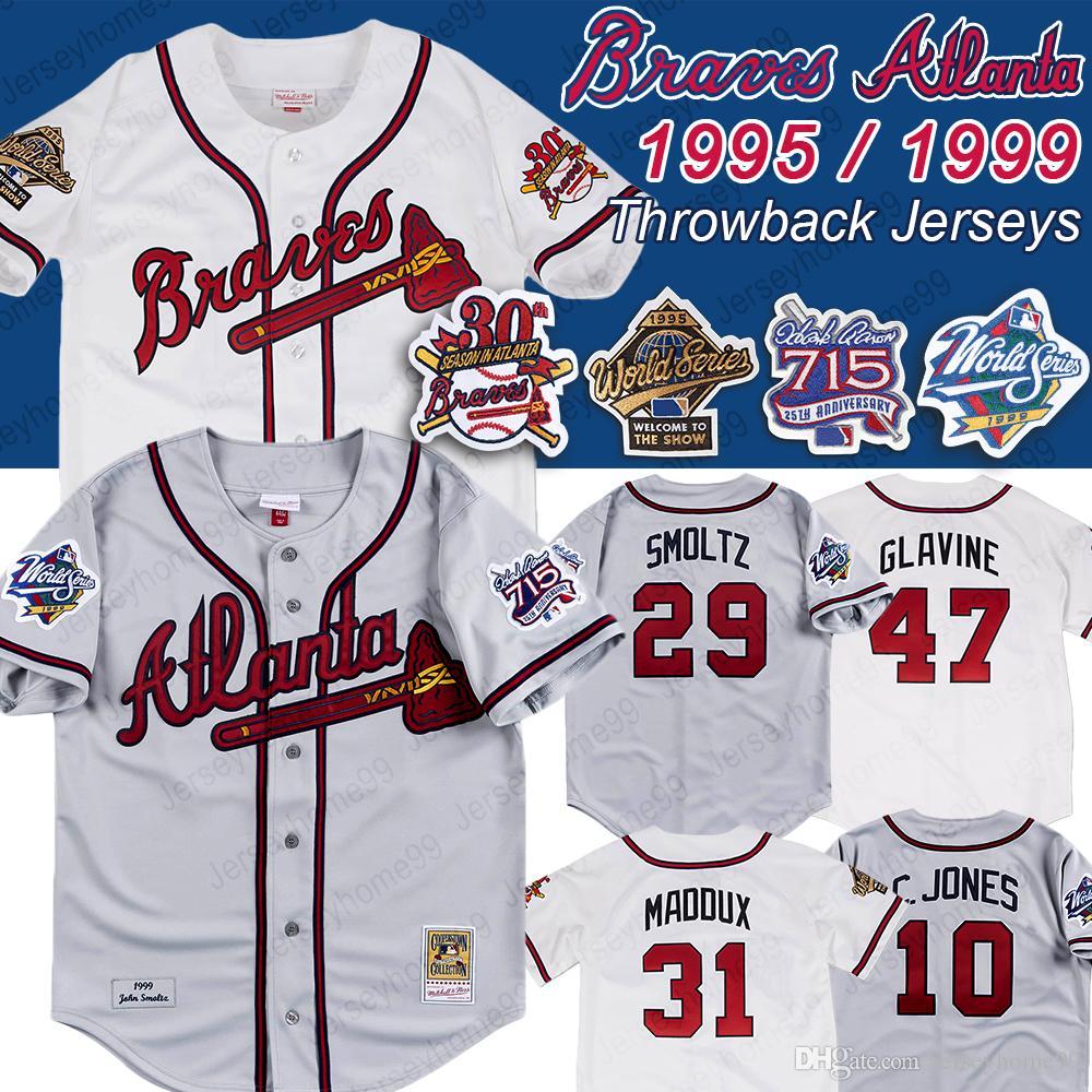 low priced af840 d2aae Atlanta 1999 1995 world series 715 HR 25th patch Braves Jersey John Smoltz  31 Maddux 10 Chipper Jones 49 John Rocker Baseball Jerseys