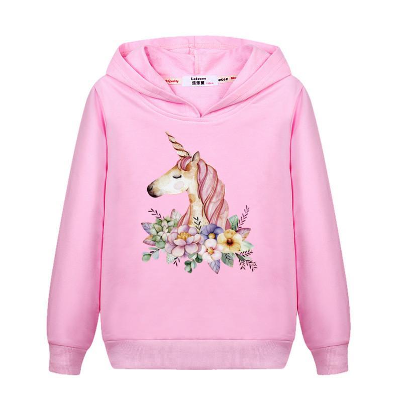 ea63cabefcaea Acheter Printemps Sweat À Capuche Fille De Fleur Licorne Mince Coton Casual  Pullover Enfants Zèbre Imprimer Sweat Girl Fashion Print Coat De  21.27 Du  ...