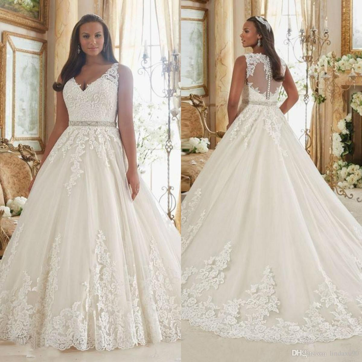 Discount 2019 New Arrival A Line Wedding Dresses V Neck Sweep Train ...