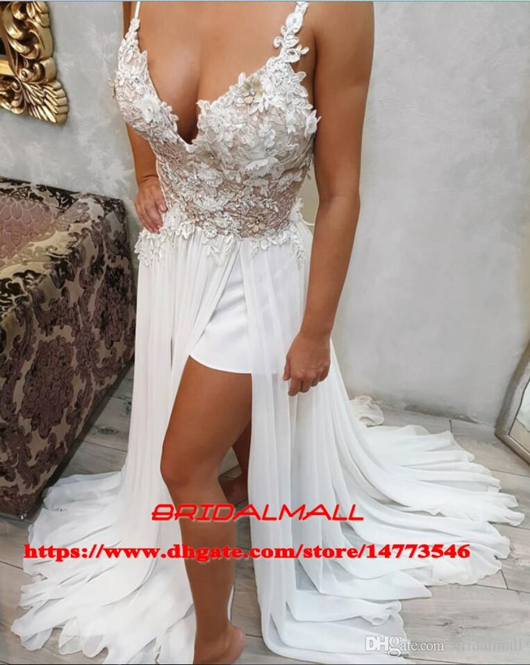 Simple 2019 Appliqued Chiffon Long Prom Dresses For Teens High Leg Split Formal Gowns Sweet 16 Girls Cocktail Party Dresses Homecoming Cheap