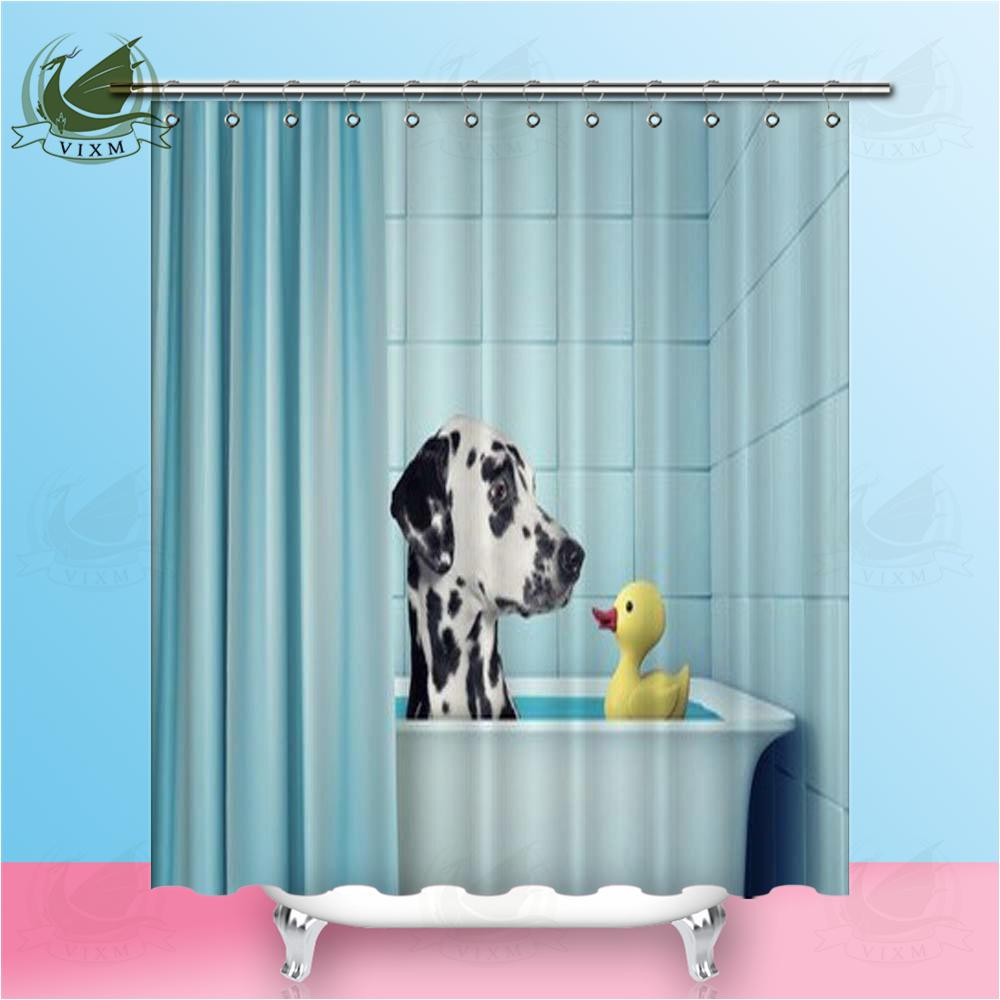 2019 Vixm Cute Dalmatian Dog In The Bath With Duck Shower Curtains Polyester Fabric For Home Decor From Bestory 1665