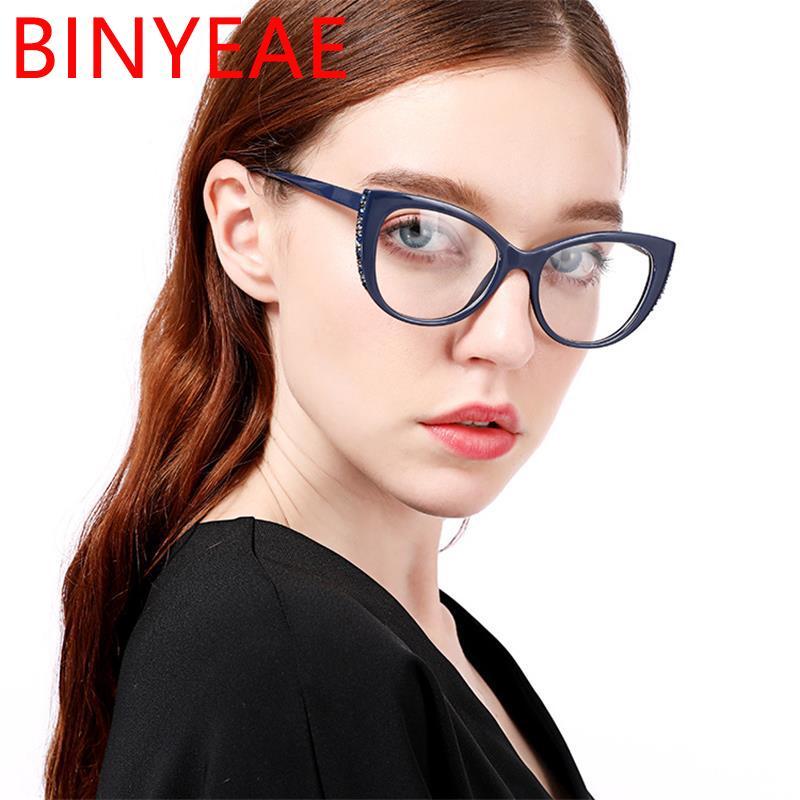 984258cb3 Compre Óculos De Prescrição De Luxo Cat Eye Óculos Frames Lado Diamante  Óculos Transparentes Limpar Lente Azul Profunda Moldura Spectaccle De  Yuijin, ...