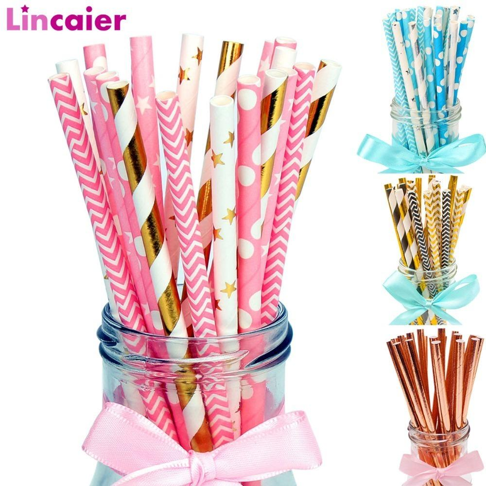 Lincaier Paper Drinking Straws Wedding Party Table Decoration Birthday Kids Boy Girl Baby Shower Adult Supplies Graduation C18122201 Wares Partyware