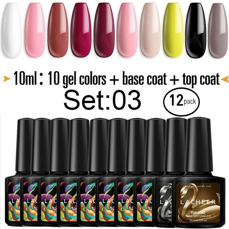 Gel Nail Polish Set With Base Coat And Top Coat Home Nail Salon Kit ...