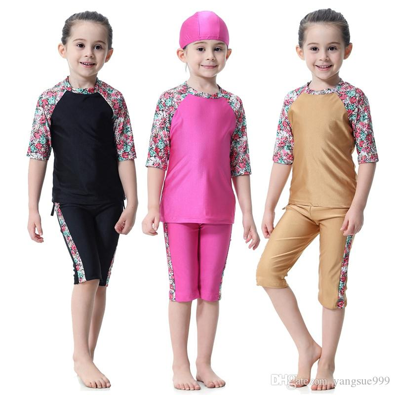 79ab208dad 2019 Muslim Girl Kid Conservative Split Short Sleeve Swimming Swimsuit  Swimwear Fashion Burkini Islamic Clothing Baby Modest Full Cover Plus Size  From ...