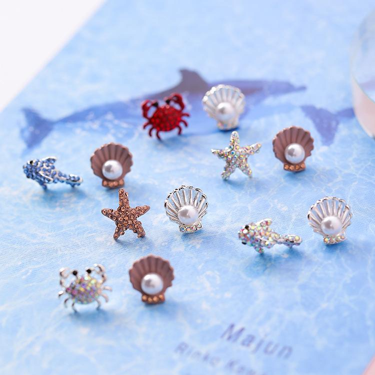 2018 Tatlı Sevimli Rhinestone Yengeç Denizyıldızı Yunus Hayvan Simüle Inci Kabuk 925 Gümüş Saplama Küpe Kadın Kızlar Takı
