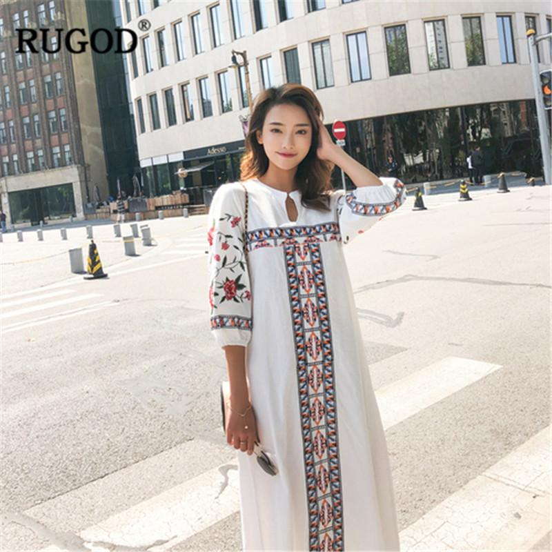 f98222b4ab1 RUGOD Casual Holiday Indie Long Flok Dress Female Wrist Sleeve Straight  Ethnic Women Cloting White Red Pullover Ball Dress Ladi Cute Dress For  Women ...