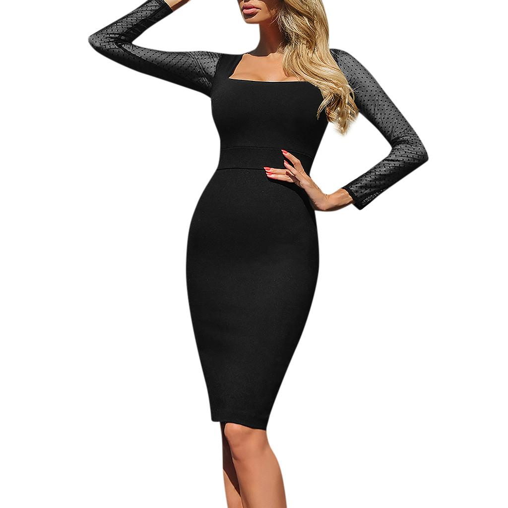 Platz kragen frauen dress casual mesh langarm nachtclub party dress solide schlanke reich bodycon kleider damen vestidos / ppt