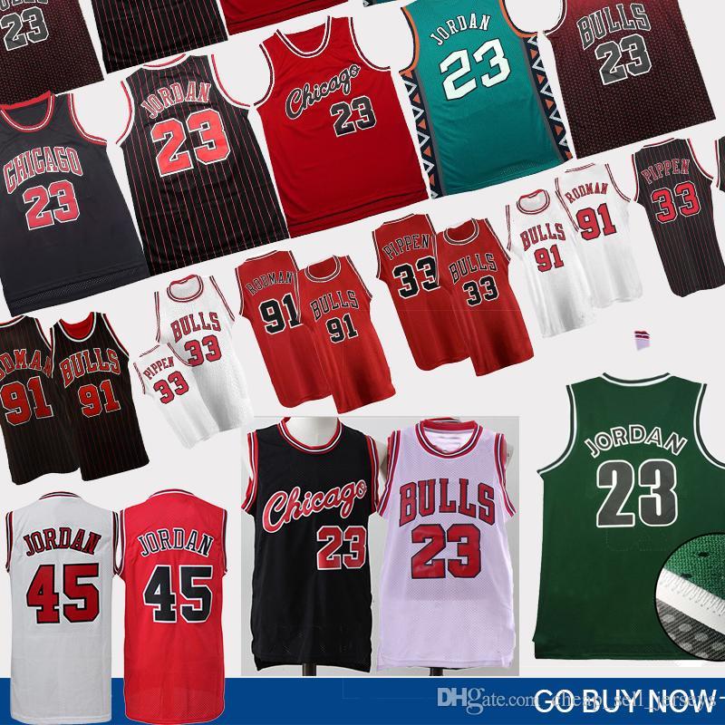 separation shoes dee7a bdf53 NCAA 23 MJ Dennis 91 Rodman 45 MJ Scottie 33 Pippen Bulls Jersey Retro  Basketball Jerseys College Basketball Wears