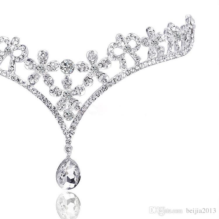 03655ccad953 Envío gratis cristal de moda Tiara corona accesorios para el cabello para  la boda Quinceanera cadena de pelo Pageant joyería del pelo