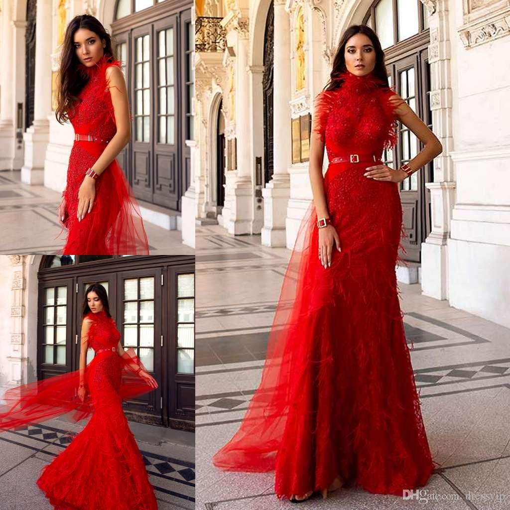 cb4c539c88 2019 Red Evening Dresses High Neck Lace Appliqued Feathers Floor Length  Sleeveless Mermaid Prom Dress Beads Custom Formal Party Gowns