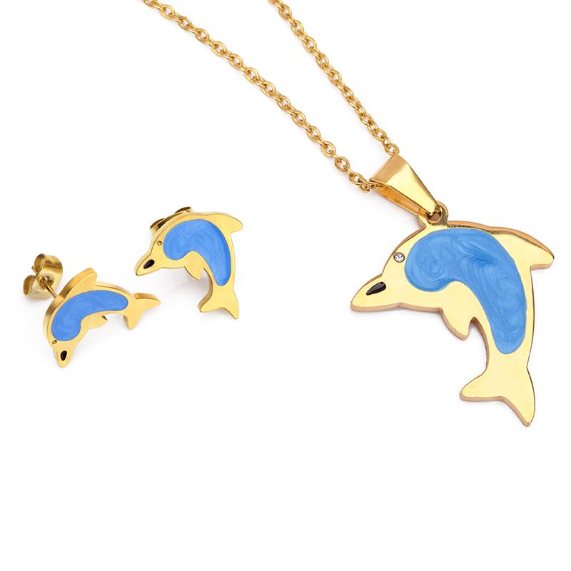 FairLadyHood Dolphin Earrings And Dolphin Necklace Stainless Steel Women Gold Color Jewelry Sets Fow Girl Gifts
