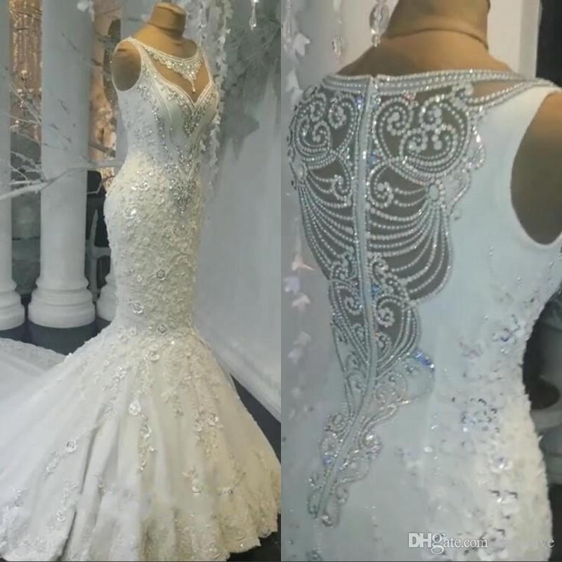 4f1318d872 2019 Mermaid Wedding Dresses Sheer Neckline Lace Appliques Beaded Illusion  See Through Tulle Long Train Bridal Gowns Cheap Gowns Cheap Lace Wedding  Dresses ...