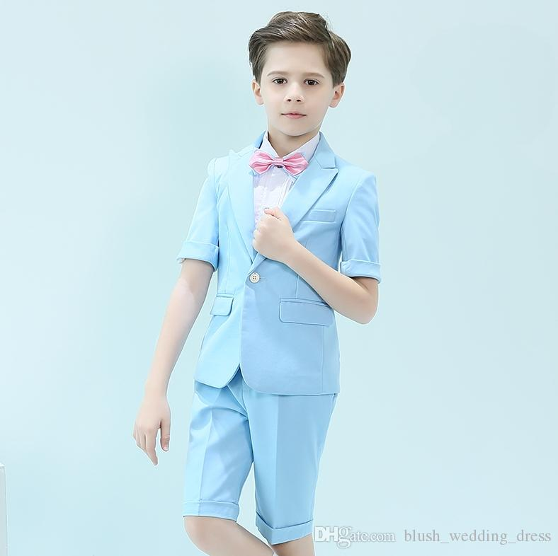 Short Sleeve One Button Peak Lapel Kid Complete Designer Handsome Boy Wedding Suit Boys' Attire Custom-made (Jacket+Pants+Vest)