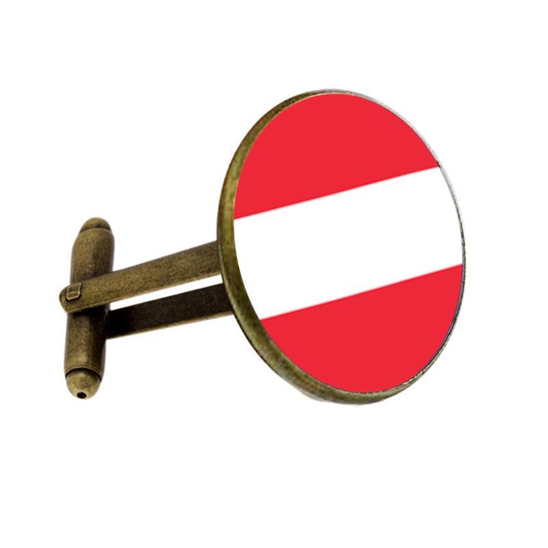 Bandera nacional mundial de Austria Gemelos Silve Gemelos hombres y mujeres Accesorios Antiguos Vintage Hombre Mujer Camisa gemelos
