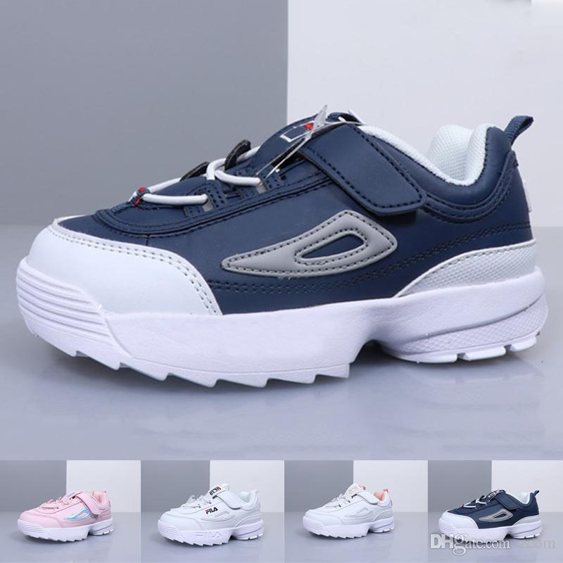 0e98bd113894c Acheter 2019 Enfants Chaussures De Course Fila Disruptor 2 Pour Bébé Garçon  Filles Marque De Luxe Designer Formateurs Enfants Chaussures Zapatillas  Sport ...