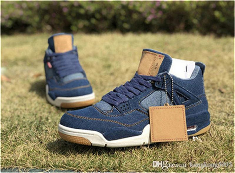 4363c6f7d10 2018 New 4 Denim 4S Blue Black White Jean Men Basketball Shoes Authentic  Quality Sports Sneakers With Box AO2571 401 Low Top Basketball Shoes Kevin  Durant ...