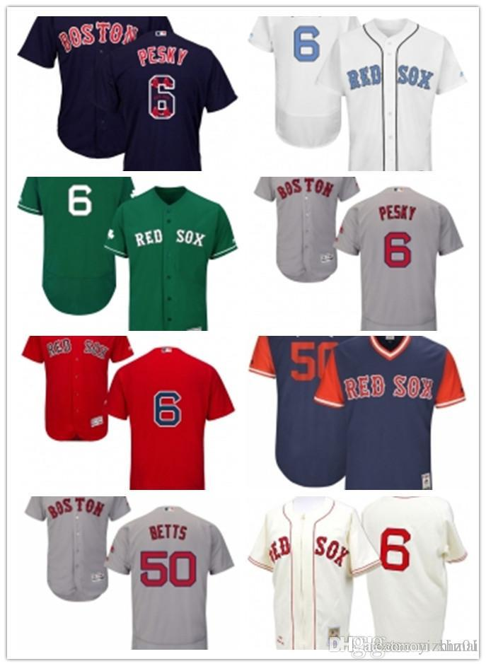 Red Sox Hommes 50 Mookie Betts 6 Johnny Pesky Majestic White Accueil Officiel Cool Base Player Jersey Femmes Enfant Boston