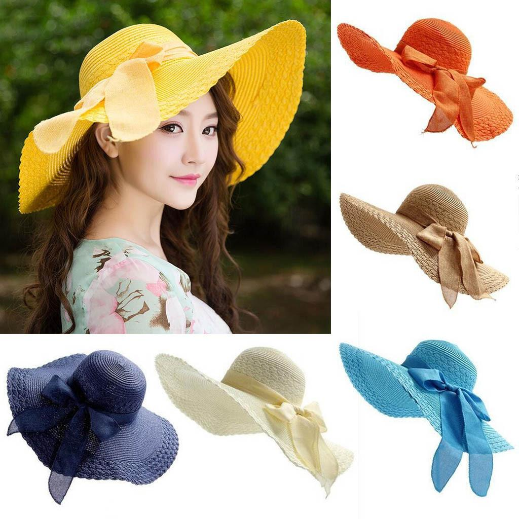 Hot Sale Summer Bow Sun Protection Sun Hat Women Colorful Big Brim Straw  Bow Hat Floppy Wide Brim Hats Solid Beach Cap  C Fedora Hats Visor Hats  From ... 3643b7d4a0