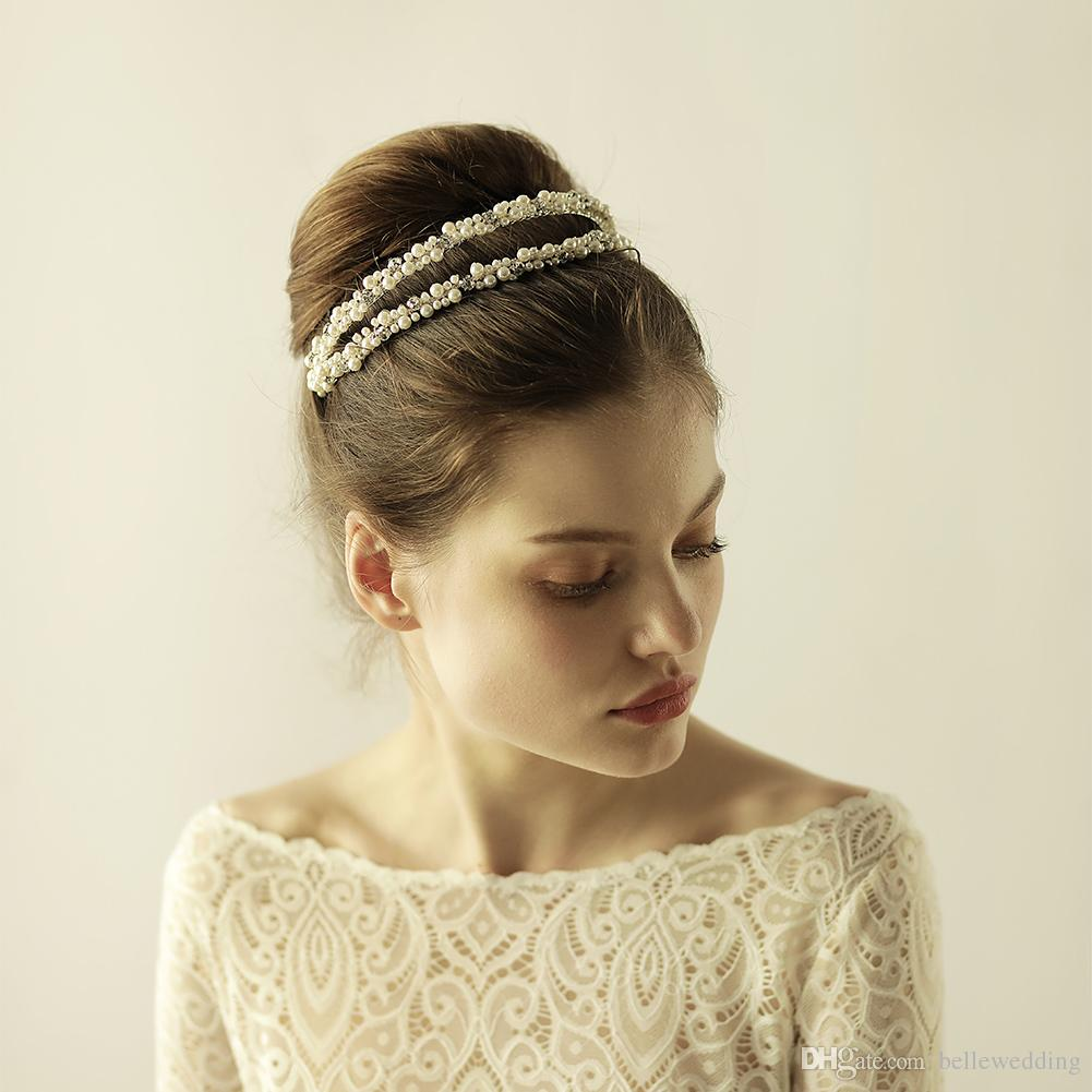 2019 new wedding headpieces hair accessories with rhinestones pearls women  hair jewelry wedding tiaras crowns hp863