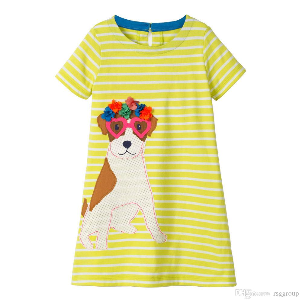 Must-have Unicon Girls Dresses kids designer clothes 100% Cotton Quality Animal Horse Dog Floral Striped O-neck A-line Vestiti per bambini