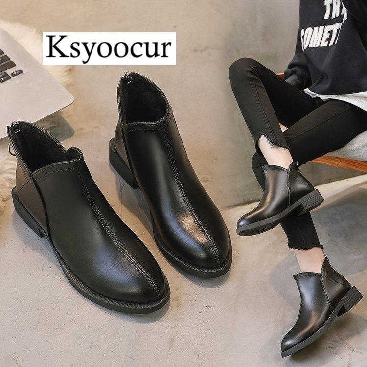 3d455c80dbde Ksyoocur Back Zipper Black Ankle Boots For Women Warm Insole Women Boots  Mid Heel Autumn Winter Shoes J007 Slipper Boots Ankle Booties From Gavingg